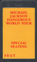 ##MUSICBP0872 - Michael Jackson OTTO Laminated Backstage Special Seating Pass from the 1992 Dangerous Tour