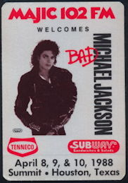 ##MUSICBP0277 - Rare OTTO Cloth Michael Jackson Radio Pass from the 1988 Bad Tour