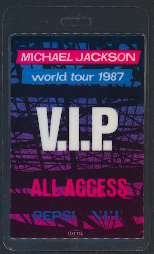 ##MUSICBP0314 - Scarce Michael Jackson All Access OTTO Laminated Backstage Pass from the 1987 World Tour