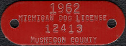 #MS269 - Group of 12 Red 1962 Michigan Enameled Metal Dog Tag Licenses