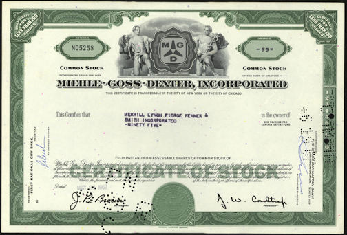 #ZZCE061 -Miehle-Goss-Dexter, Incorporated Stock Certificate