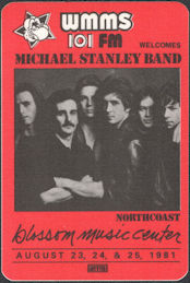 ##MUSICBP0923 - Michael Stanley Band OTTO Cloth Promotional Backstage Pass from the Concert at the Music Blossom Center