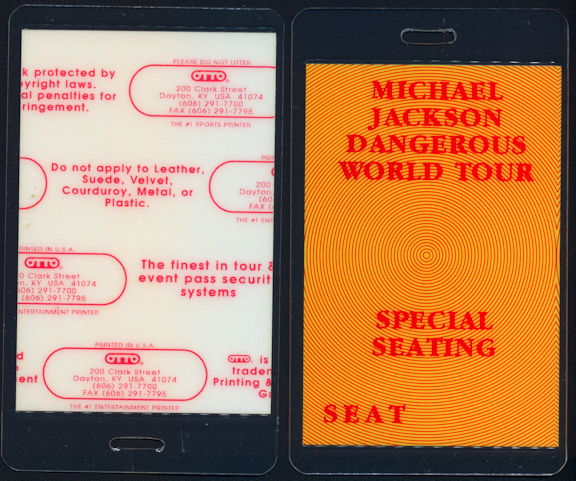 ##MUSICBP0424 - Michael Jackson Laminated Backstage Pass from the 1992 Dangerous Tour