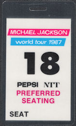 ##MUSICBP0688 - Michael Jackson OTTO Preferred Seating Pass from the 1987 Bad World Tour