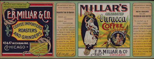 #ZLCA906 - Super Rare Very Large E. B. Millar &  Co. Curacoa Coffee Can Label