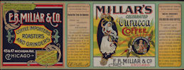 #ZLCA906 - Super Rare Very Large E. B. Millar &  Co. Curacoa Coffee Can Label