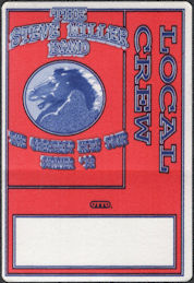 ##MUSICBP0645 - The Steve Miller Band OTTO Cloth Backstage Local Crew Pass from The Greatest Hits Tour in 1992