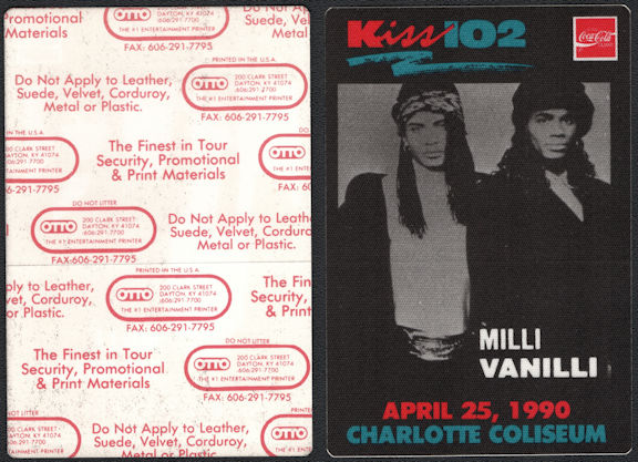 ##MUSICBP0659 - Milli Vanilli OTTO Cloth Radio Pass from the from the Concert at the Charlotte Coliseum in 1990