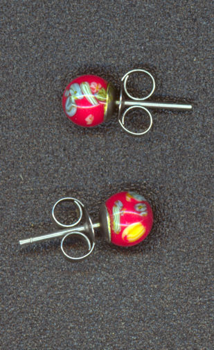 #BEADS0558 - Pair of Millefiori Earrings from the Hippie Days Still in Original Packaging