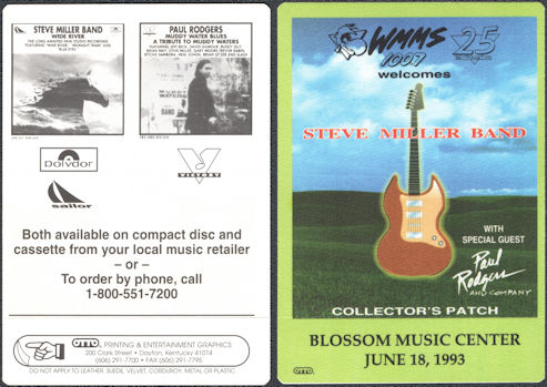 ##MUSICBP0799 - Steve Miller OTTO Cloth Radio Patch from the Blossom Music Center Concert on the Wide River Tour