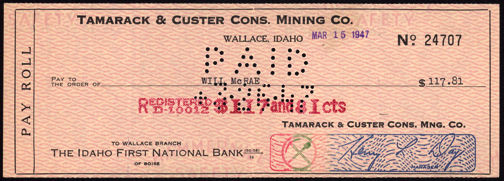 #ZZZ070 - Tamarack & Custer Cons. Mining Co. Pay Roll Check