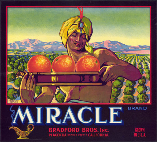 #ZLC273 - Miracle Brand Orange Crate Label with Genie