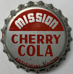 #BC219 - Group of 10 MIssion Cherry Cola Cork Lined Bottle Caps