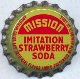 #BC177 - Group of 10 Mission Imitation Strawberry Cork Lined Soda Bottle Caps