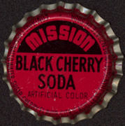 #BC111 - Group of 10 Uncommon Cork Lined Mission Black Cherry Soda Bottle Caps