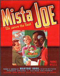 #ZLC475 - Mista Joe Vegetable Crate Label - Railroad Dining Car