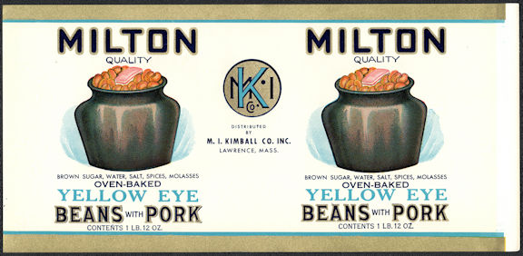 #ZLCA311 - Uncommon Milton Oven-Baked Beans with Pork Can Label - Lawrence, MA