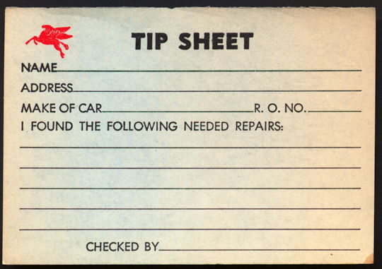 #CA124 - Mobil Oil Pegasus Flying Horse Service Station Tip Sheet