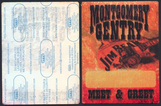 ##MUSICBP0214 - group of 12 Montgomery Gentry OTTO Cloth Meet & Greet Backstage Passes from the 2001 Jim Beam Tour