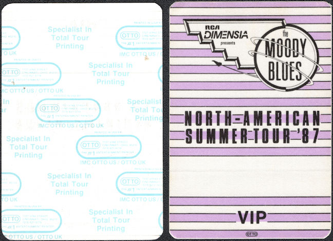 ##MUSICBP0330  - 1987 Moody Blues Summer Tour Cloth VIP OTTO Backstage Pass
