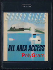 ##MUSICBP0059  - Uncommon 1988 Moody Blues PolyGram Records Numbered Laminated All Access OTTO Backstage Pass from the Sur la mer Tour