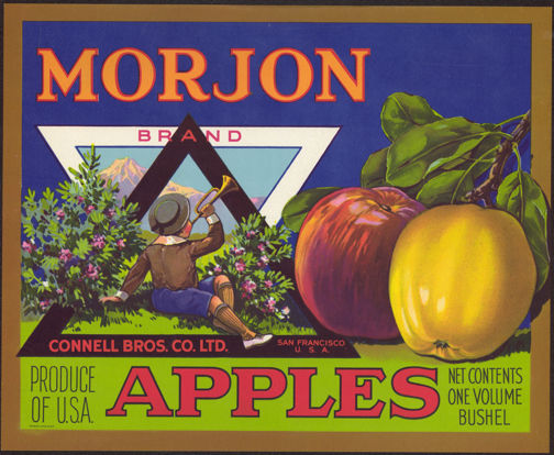 #ZLC263 - Morjon Brand Apple Crate Label with Boy Blowing Horn
