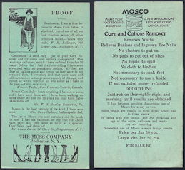 "#ZZZ142 - Early Double Sided Ad Flyer for Mosco Corn Remover ""Cure"""