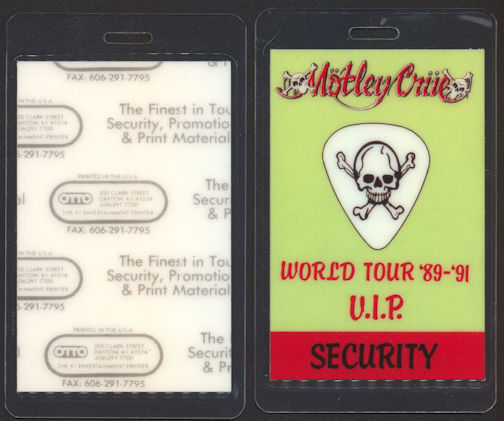 ##MUSICBP0086  - Motley Crue 1989  Laminated Backstage Pass from the Dr. Feelgood World Tour - As low as $5.00 each
