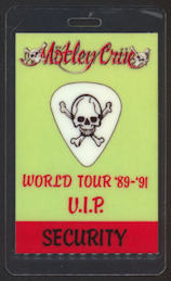 ##MUSICBP0086  - Motley Crue 1989 OTTO  Laminated Backstage Pass from the Dr. Feelgood World Tour