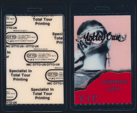 ##MUSICBP0427 - Motley Crue AC/DC Laminated VIP Backstage Pass from the 1991 Monsters of Rock Tour