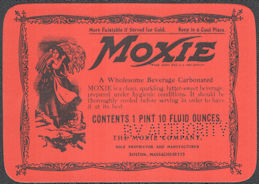 #ZLS243 - Oversize Moxie Soda Bottle Label - Boston, Massachusetts