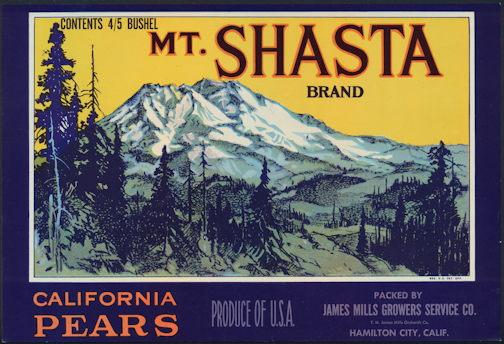 #ZLC369 - Mt. Shasta Brand Pear Crate Label
