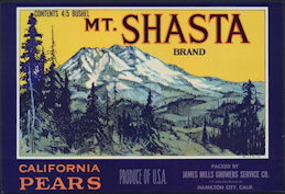 #ZLC369 - Mt. Shasta Brand Pear Crate Label
