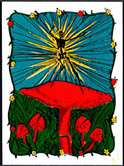 ##MUSICBP2014 - Large Grateful Dead Tour Sticker/Decal - Electrified Skeleton Dancing on a Mushroom
