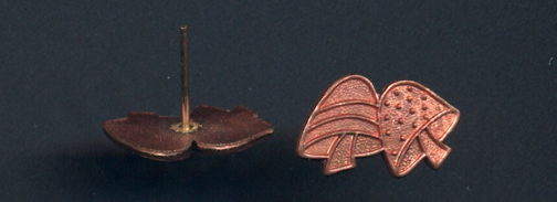 #BEADS0738 - Solid Copper Hippie Mushroom Tie Tac (no clamp for back) - As low as 25¢ each