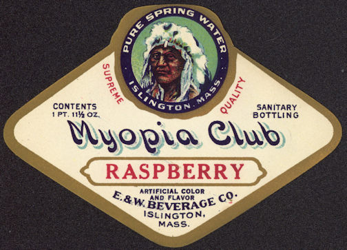 #ZLS173 - Rare Myopia Club Raspberry Soda Bottle Label - Different Indian