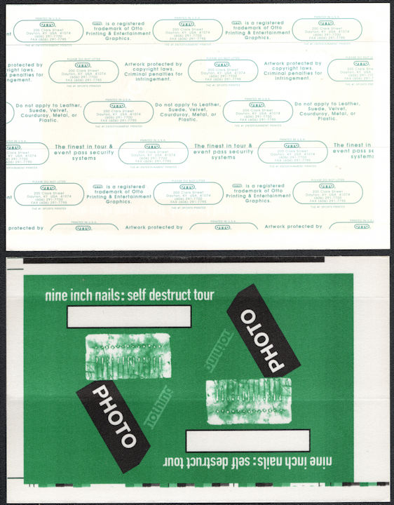 ##MUSICBG0130 - Large Uncut Sheet of NIN OTTO cloth Backstage Passes from the 1994 Self Destruct Tour