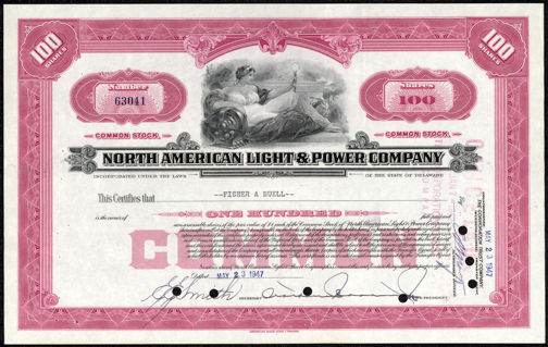 #ZZCE026 - 100 Share Stock Certificate from North American Light & Power Company