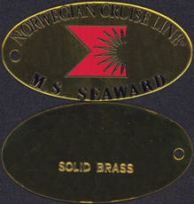 #CA083 - Large Solid Brass Key Fob from the M. S. Seaward Ship of the Norwegian Cruise Line - As Low As $1 Each