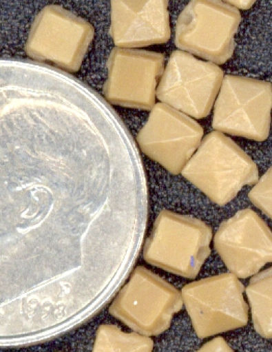 #BEADS0052 - Square Faceted Taupe Czech Nailhead Glass Bead