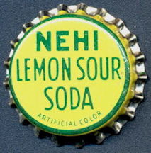 #BC156 - Group of 10 Early Cork Lined Nehi Lemon Sour Soda Bottle Caps