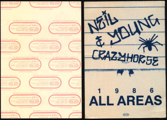 ##MUSICBP0069  - 1986 Neil Young & Crazy Horse OTTO Backstage Pass