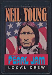 ##MUSICBP0174 - Scarce 1993 Neil Young/Pearl Jam OTTO Laminated Backstage Pass for the 1993 Tour -  as $6 each