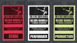 #CH375 - Group of 3 Different Nelson Madela OTTO Laminated Backstage Passes from the 1990 Free South Africa Celebration at Oakland Stadium