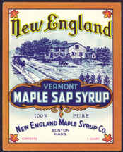 #ZBOT146 - New England Vermont Maple Sap Syrup Label