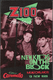 ##MUSICBP0527 - New Kids on the Block Cloth OTTO Backstage Radio Pass from the 1989 Show at the Meadowlands