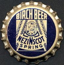 #BC186 - Nezinscot Spring Cork Lined Birch Beer Soda Cap