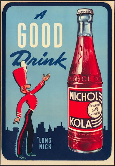 #SIGN198 - Large Nichol Kola Soda Window Decal Sign with Royal Guardsman