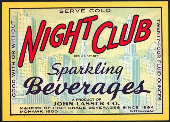 #ZLS228 - Scarce Night Club Sparkling Beverages Soda Bottle Label - Chicago Skyline