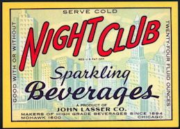 #ZLS228 - Scarce Night Club Sparkling Beverages Soda Bottle Label - Chicago Skyline